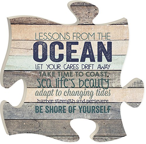 Lessons From The Ocean Let Your Cares Drift Away 12 X 12 Inch Wood Puzzle Piece Wall Sign Plaque