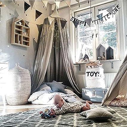 hongfei Ropa de cama de beb/é C/úpula Redonda Canopy Kids Play Tienda Colgando Mosquitero Cortina Para Beb/és y Ni/ños Lectura Jugar Sleeping Room Decoration