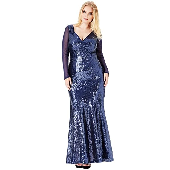 d69ddf43 Goddiva Plus Size Long Sleeved Sequin Chiffon Maxi Evening Gown Prom Party  Dress: Amazon.co.uk: Clothing