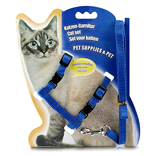 ONSON Cat Harness, Adjustable Harness Nylon Strap Collar with Leash, Cat Leash and Harness Set, for Cat and Small Pet Walking (Blue)