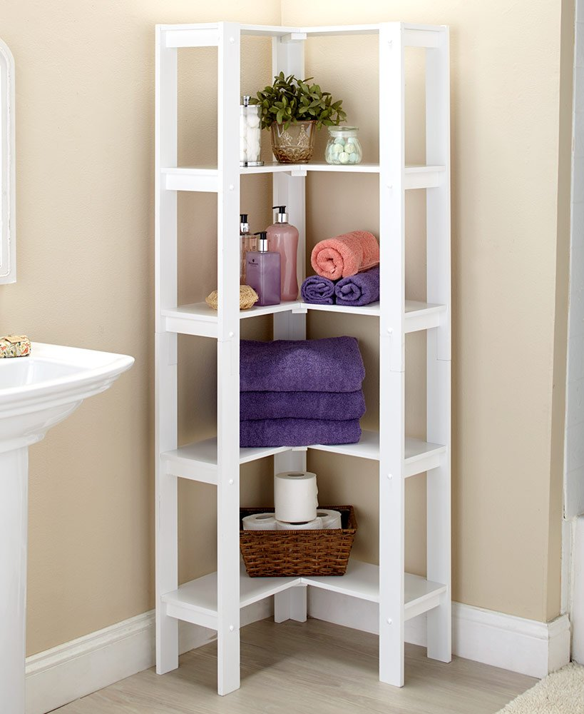 The Lakeside Collection Corner Shelving Unit White