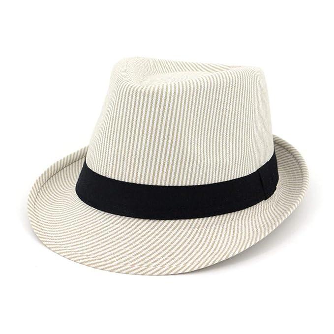 ca16307496659 HYXUM Moda Hombre Mujer Sombreros a Rayas Estilo Sombrero Fedora y  borsalino Jazz Party Sombrero de Copa Formal Sombrero Unisex Sombrilla de  Playa Sombrero ...