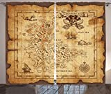 Ambesonne Island Map Decor Curtains, Super Detailed Treasure Map Grungy Rustic Pirates Gold Secret Sea History Theme, Living Room Bedroom Decor, 2 Panel Set, 108 W X 84 L inches, Beige Brown For Sale