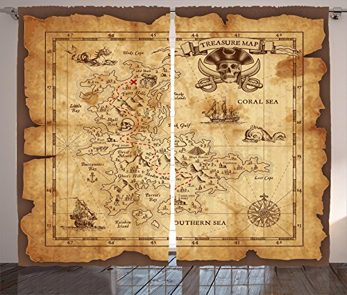 Ambesonne Island Map Decor Curtains, Super Detailed Treasure Map Grungy Rustic Pirates Gold Secret Sea History Theme, Living Room Bedroom Decor, 2 Panel Set, 108 W X 84 L Inches, Beige Brown Treasure Map Personalized
