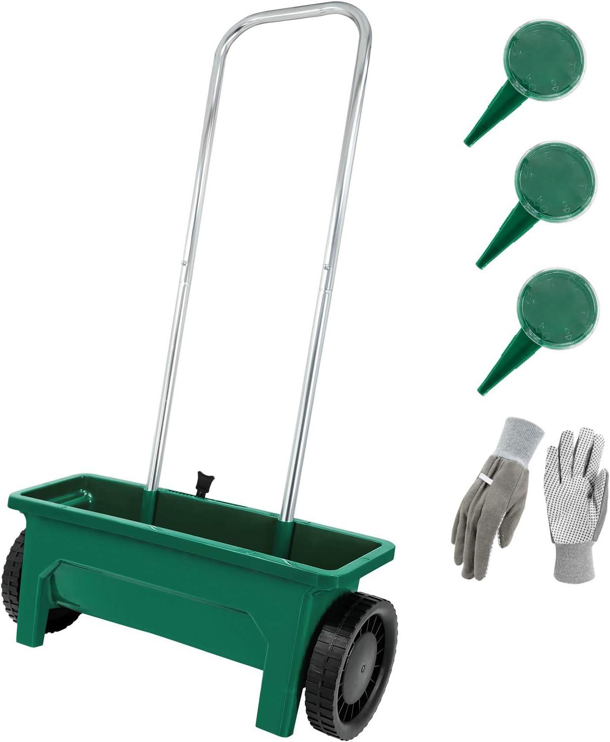 Hortem Seed Spreader Set Include 12L Flower Plant Seeder and 3PCS Seed Dispenser, Garden Lawn Fertiliser Spreader (Green)
