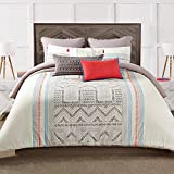 3pc Tan Blue Red Off White South West Aztc Theme Duvet Cover Full Queen Set, Southwest Indie Hippy Themed Pattern, Cotton, Ikt Zig Zag Triangle Hippie Bedding