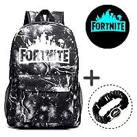 Gorgebuy Luminous Backpack - Galaxy Schoolbag Glow In Dark Backpack Rucksack Laptop Book Satchel Hiking Bag for Boys Girls + Fortnite Bracelet
