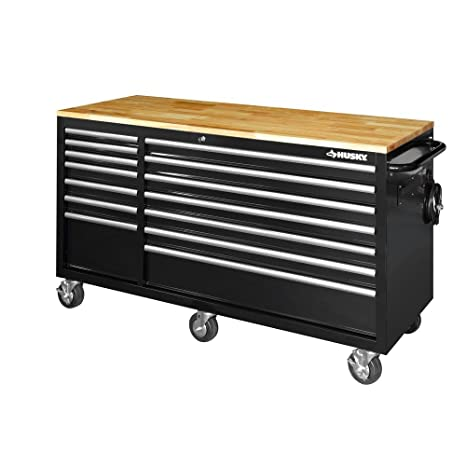 Fabulous Husky 62 In 14 Drawer Mobile Workbench With Solid Wood Top Black Gmtry Best Dining Table And Chair Ideas Images Gmtryco