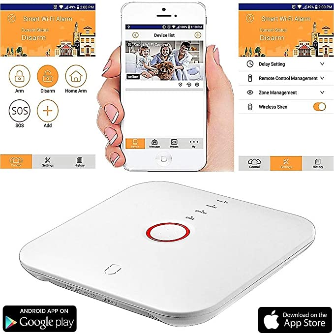 Smart Wi-Fi Alarm System Deluxe Kit with IP Cameras, Wireless Sensors, Motion Detectors, Remotes and Smartphone Control - Easy DIY Home Security with ...