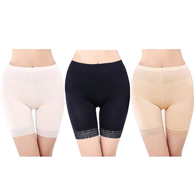 FEPITO 3 Pares de Mujeres Debajo de la Falda Pantalones Cortos Pantalones de Seguridad Suave Encaje Encaje Ajuste Leggings Pantalones Cortos de Yoga ...