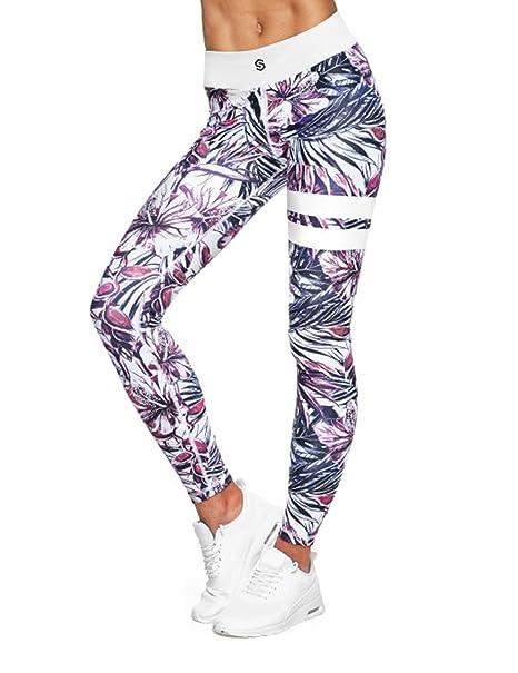 65e46c31a9c4 LaLaAreal Mallas Deportivas Mujer Leggins Yoga Pantalon Elastico Cintura  Altura Polainas para Running Pilates Fitness (M, A-Flor Rojo)
