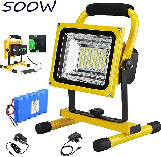 FNHGNG Foco LED Recargable Portátil 500W 6000 LM LED Proyector de ...
