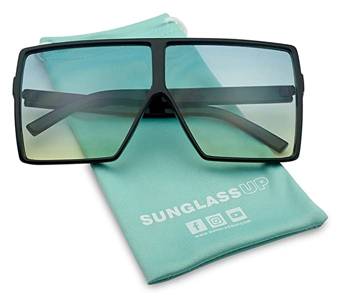 Big XL Large Oversized Super Flat Top Square Two Tone Color Fashion Sunglasses