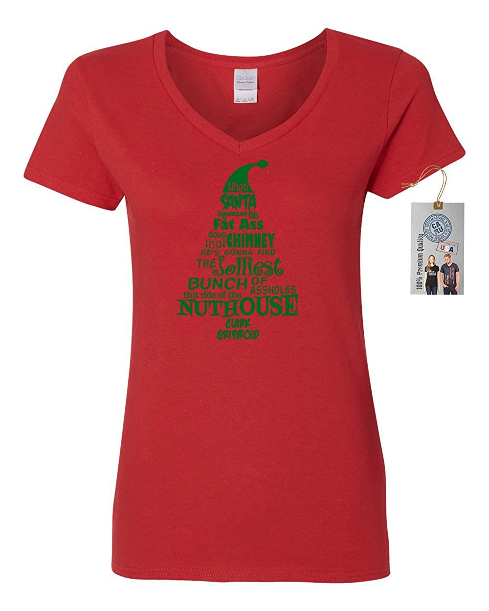 c788288592e Amazon.com  Christmas Vacation Nuthouse Womens V Neck T-Shirt Top  Clothing