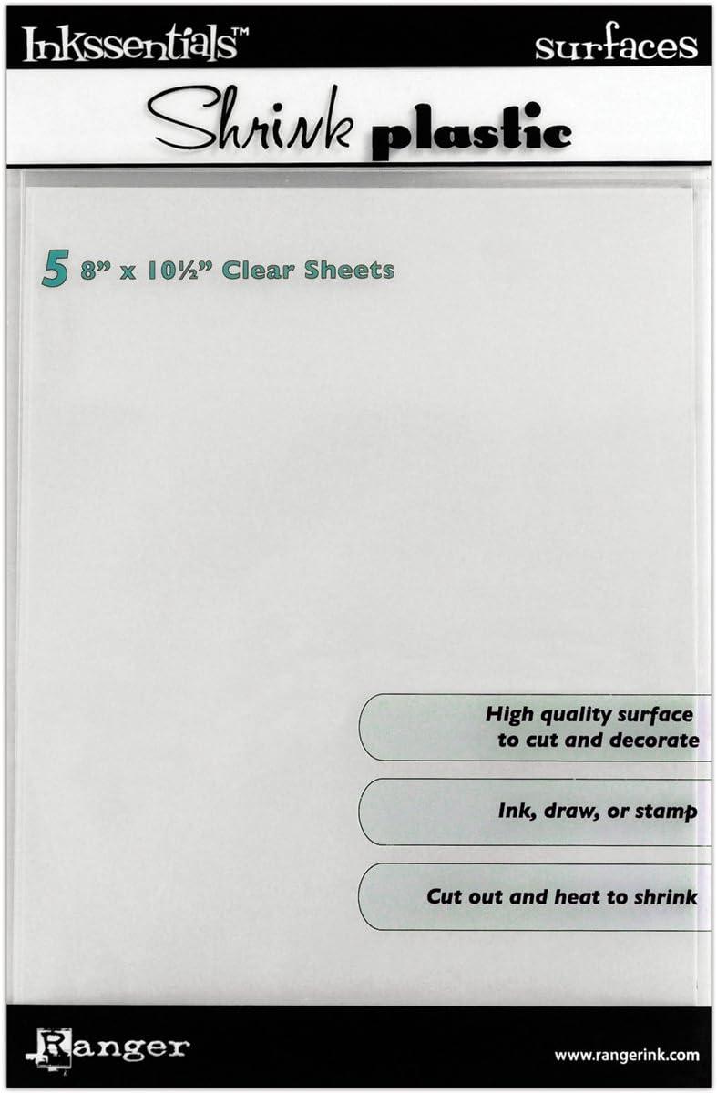 Ranger Shrink Plastic - Plástico encogible para Manualidades (5 Unidades), Color Transparente