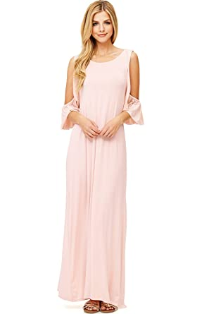 2e8b8f2aec07 Pink Ice Women's Long Silky Maxi Dress w Ruffle Sleeves (L, Blush ...