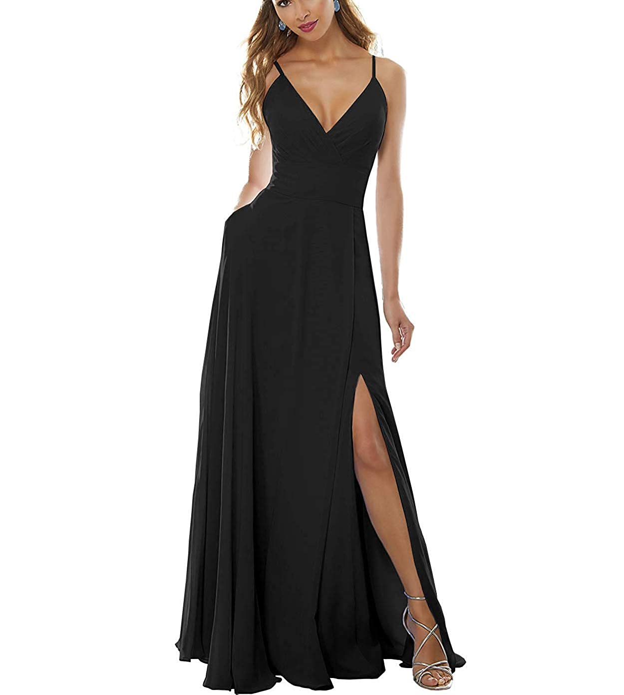 Black Stylefun Women's Side Split Bridesmaid Gowns VNeckline Spaghetti Straps Formal Dress Pockets