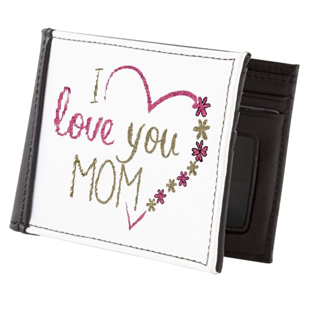 Truly Teague Mens Wallet Billfold I Love You Mom Burlap and Pink Heart