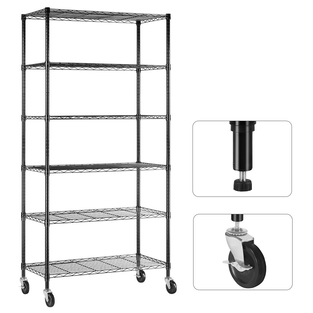 LANGRIA 6 Tier Wire Shelving Garage Shelving Storage Rack Metal Shelves, Heavy Duty Commercial Metal Wire Shelving Unit Black
