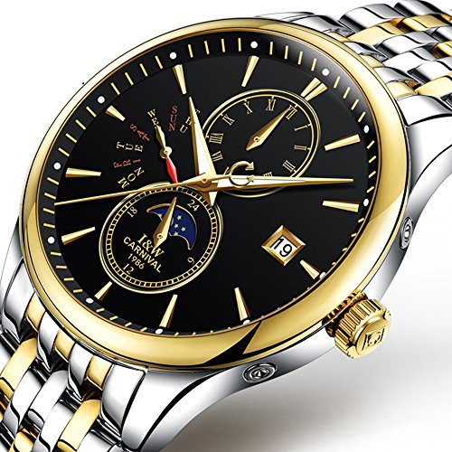 Mastop Swiss Luxury Men's Watches Gold Stainless Steel Waterproof Automatic Mechanical Watches Luminous