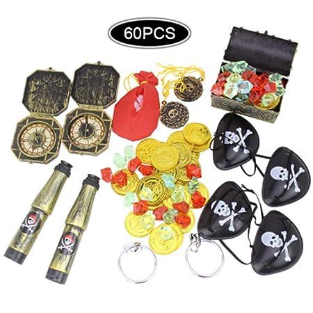 Paquete de 60 Fiesta de piratas de juguetes y accesorios para fiestas: tema de piratas Artículos para fiestas de cumpleaños Decoraciones (60 PCS)