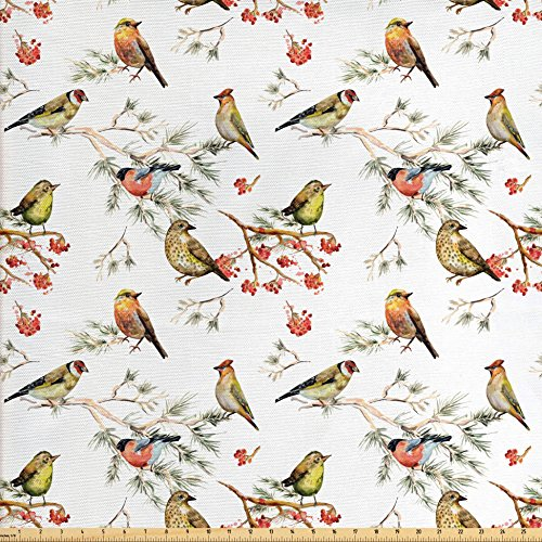 animal-fabric-by-the-yard-by-ambesonne-sparrows-chubby-birds-indian-leaves-branches-pine-trees-water