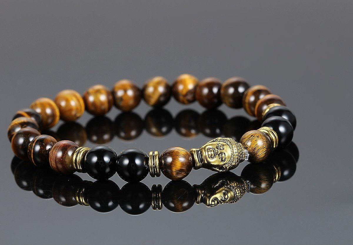 Flongo Boys Girls Brown Stone Beads Yoga Antique Gold Buddha Bracelets Handmade Link Stretch Beads Bracelet Antique Buddha Head
