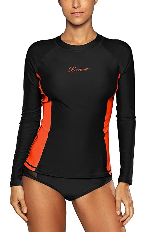 45a067952 ALove Long Sleeve Rash Guard Top Women UV Shirt Athletic Top for Women  Black Small