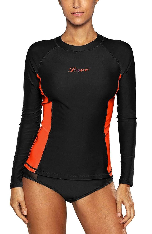 Alove Women's Long Sleeve Rash Guard UPF 50+ Swim Shirt UV Athletic Tops