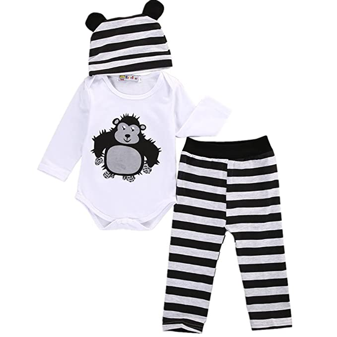 825a3ad34 Amazon.com  Infant Baby Toddler Boys Girls Cute Animal Bodysuit ...