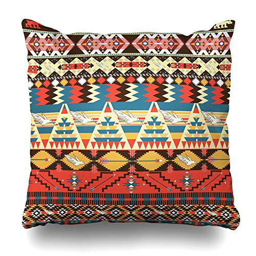 Ahawoso Throw Pillow Cover Brown Tribal Aztec Pattern Birds Flowers North Abstract Hipster Navajo Mexico American Native Design Decorative Pillow Case Home Decor Square Size 18x18 Inches Pillowcase ()