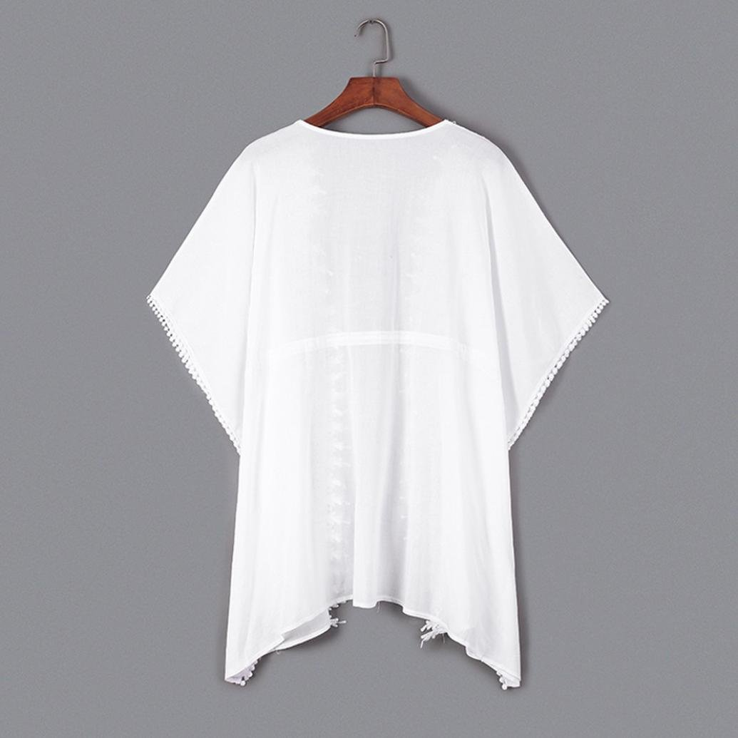 QinMM Mujer Pareos Playa Traje de Ba/ño Vestido Gasa Bikini Cover up Camisola Blusa Sol Borla