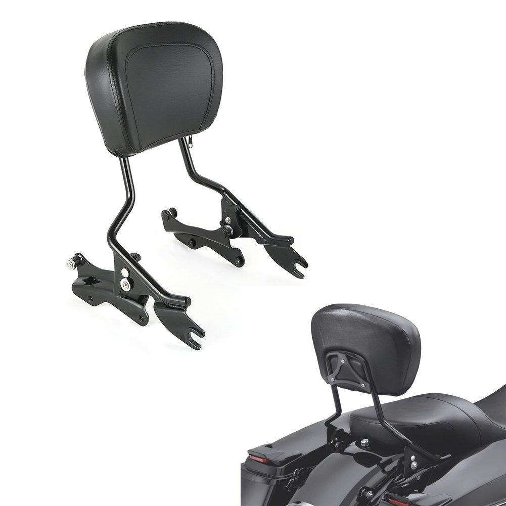 Black H-D Detachables Sissy Bar Upright w//Pad Part Number 52300354 Part Number 54247-09A +4-Point Docking Hardware Kit Fit Harley-Davidson 2014-2019