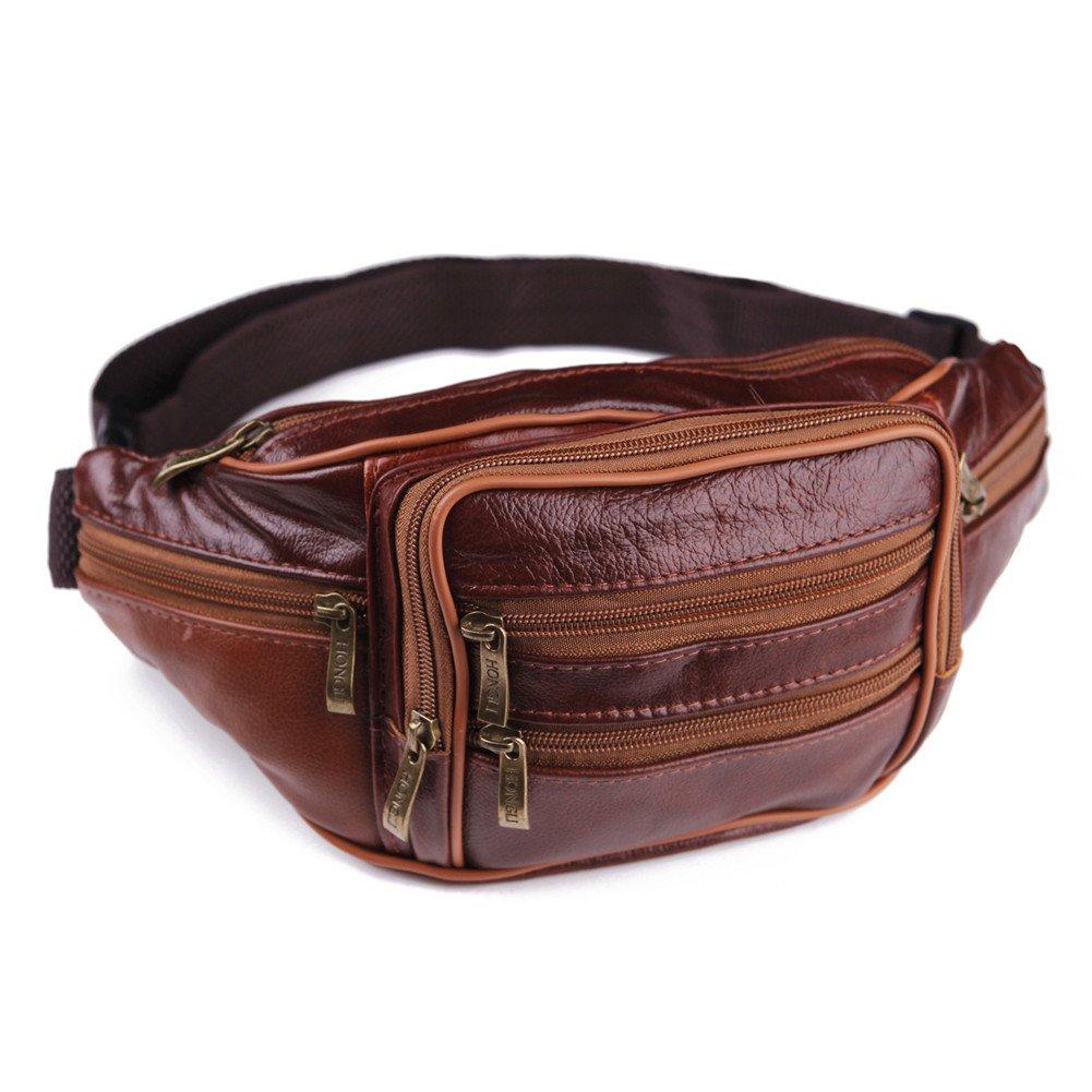 XMCOWAYOU Mens Womens Leather Fanny Pack Waist Bag Pouch Travel Sport Hip Purse