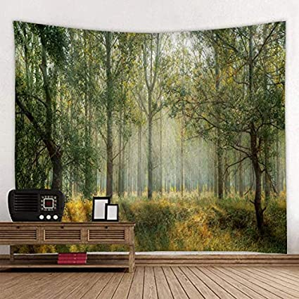 KHKJ Misty Forest Tree Printed Large Tapestry Cheap Hippie Wall Hanging Bohemian Tapestries Mandala Wall Art Decor A1 150x130cm