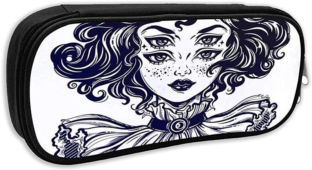 Estuche para lápices escolares, retrato de cabeza de niña bruja gótica con cabello rizado y cuatro ojos Lady is Ideal Bolso para bolígrafo Bolso de oficina: Amazon.es: Oficina y papelería