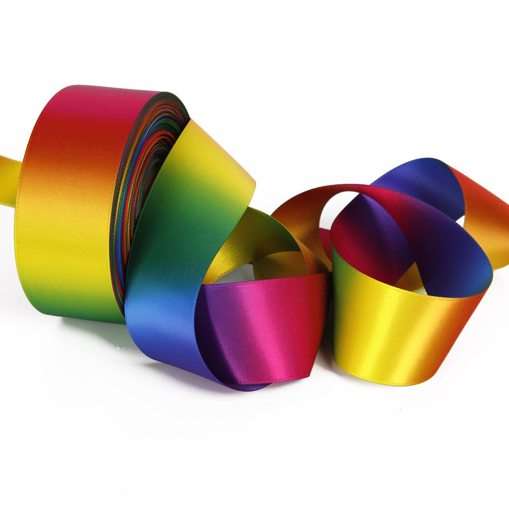 Satin Ribbon Gradient Rainbow Double Side Rainbow Colorful Printed 50 Yard 1-1/2'' Wide for DIY Handmade (1-1/2'' Wide, Satin Ribbon) by David accessories (Image #3)