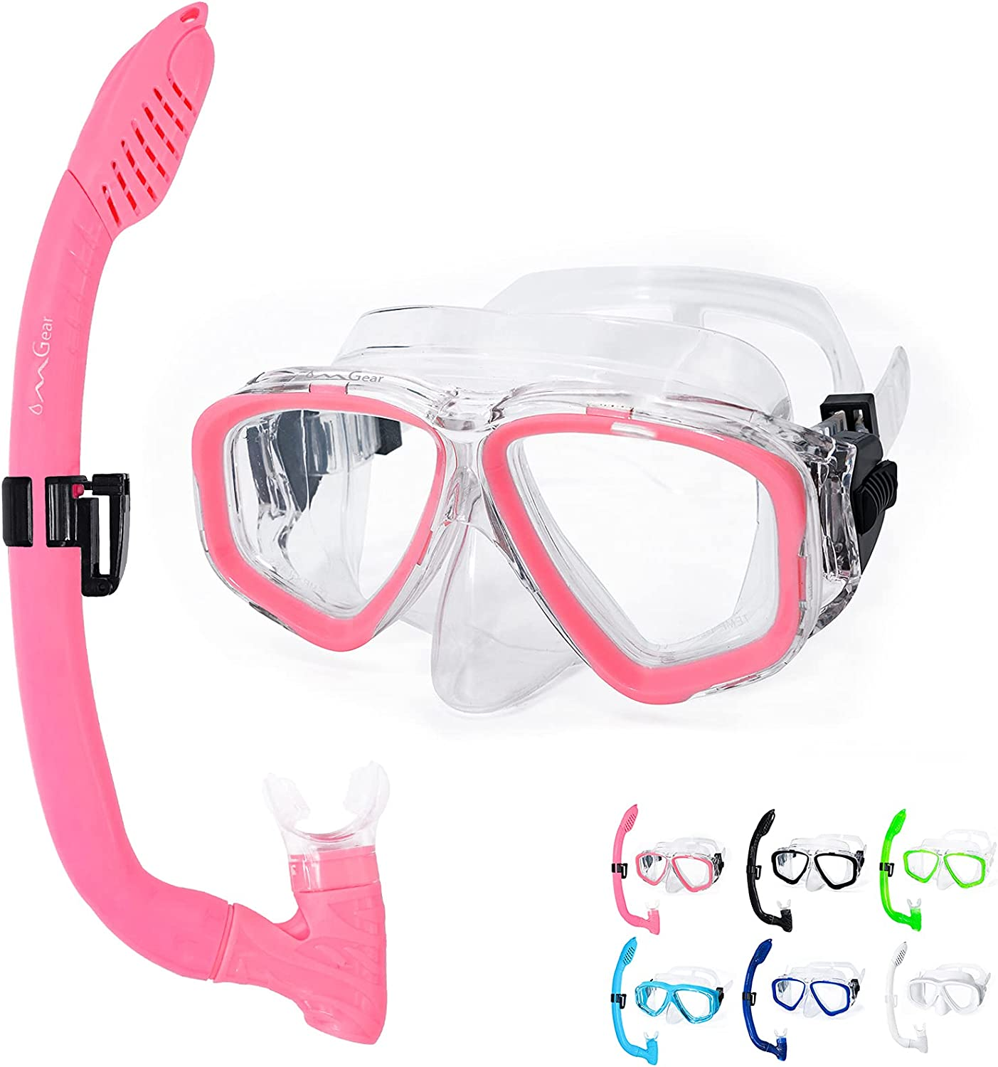 OMGear Diving Goggles and Snorkel Set for Kids Junior Youth Children Swim Mask Snorkel Combo Child Scuba Dive Mask Snorkeling Equipment(Pink) : Sports & Outdoors