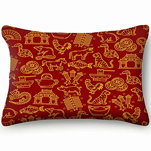 X-Large Zippered Pillow Covers Pillowcases Chinese Pattern Lunar Year Signs Animal Religion Pillow Cases Cushion Cover for Home Sofa Bedding Bed Car Seats Decor 20 X 36 Inch