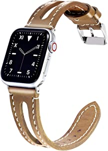 Meltingpoint Compatible with Apple Watch Band 38mm 40mm for Women, Genuine Leather Replacement Strap for iWatch Series SE & 6/5/4/3/2/1 (brown)