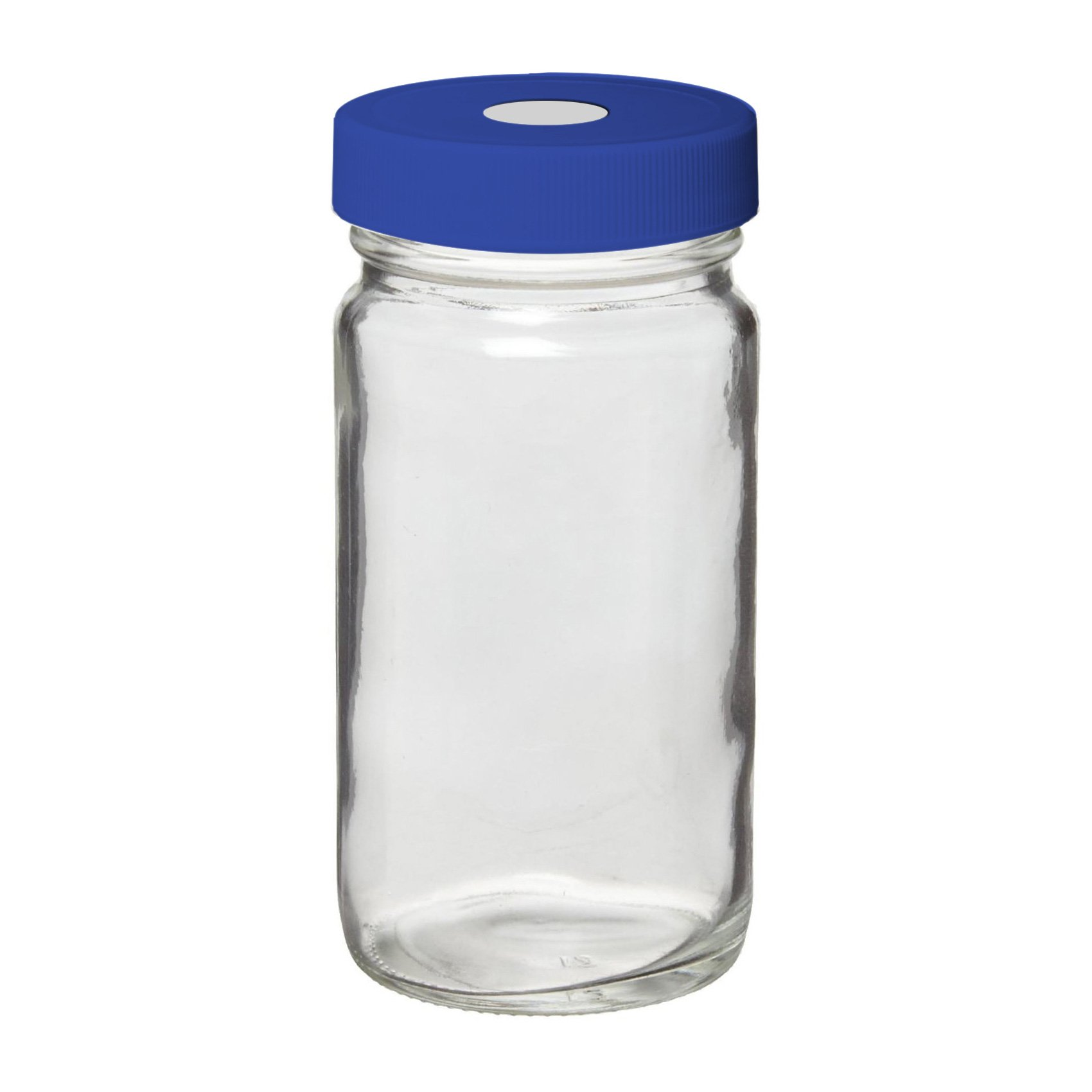 I-Chem Brand S129-0250 100 Series Type III Glass Clear Narrow Mouth Septa Bottle, With Blue Polypropylene Cap, Capacity: 250mL (Case of 12)
