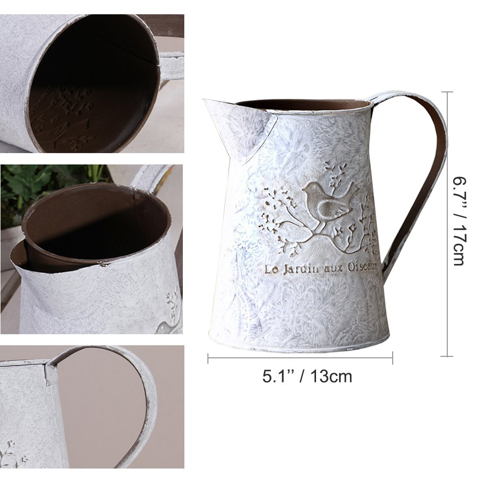 APSOONSELL French Style Country Rustic Metal Jug Vase Pitcher Flower Holder for Home Decoration