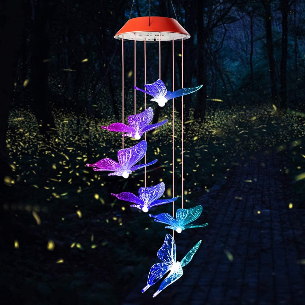 wind chimes outdoor, gifts for mom, solar wind chimes, butterfly wind chime, solar mobile butterfly, mom gifts, birthday gifts for mom, gardening gifts, wind chimes solar, windchimes unique outdoor : Garden & Outdoor