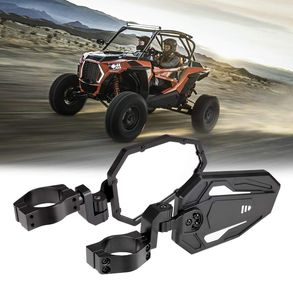 2 Roll Bar Clamp Break Away w//Adjustable Arm High Impact Shatter Proof Tempered Glass 1.75 kemimoto UTV Side Rear View Mirrors for Can Am Maverick Commander Polaris RZR 800 900 1000 XP Turbo