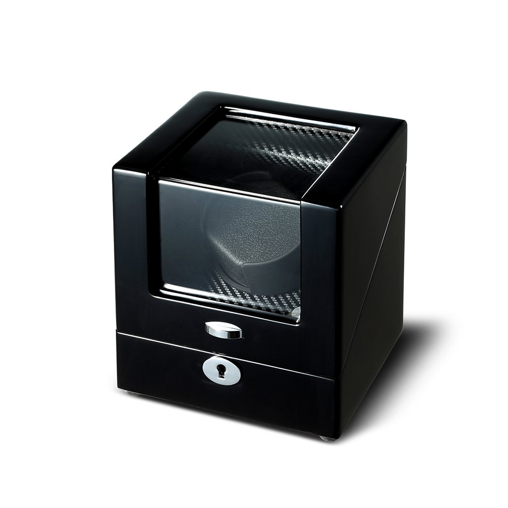 OLYMBROS Wooden Single Rotor Automatic Watch Winder Storage Box in Black by Olymbros (Image #2)