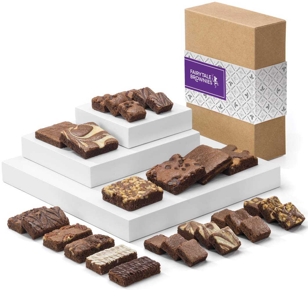 Fairytale Brownies Deluxe Medley Gourmet Chocolate Food Gift Basket - Full-Size, Snack-Size and Bite-Size Brownies - 30 Pieces - Item CF325