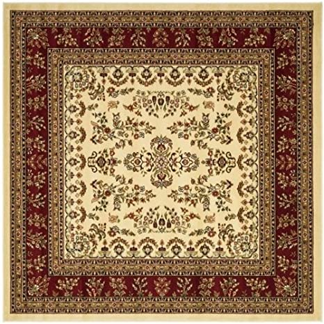 Area Rug 8x8 Square Traditional Ivory Red Color Safavieh