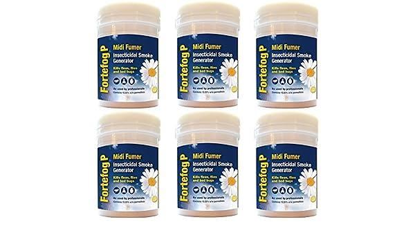 6 insecticidas generadores de humo Fortefog P Midi Fumer de 11 g para el control de insectos, mata pulgas, chinches, hormigas y cucarachas: Amazon.es: ...