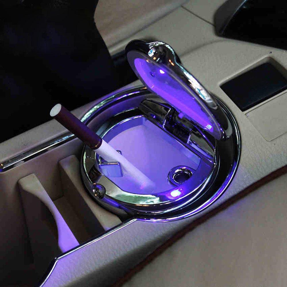 Rocita Cenicero de coche port/átil con LED para cigarrillos con soporte para taza de luz de coche