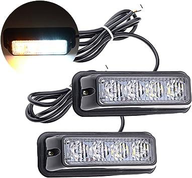 White 4LED 4W Car Truck Emergency Beacon Hazard Strobe Warning Light Lamp Bar